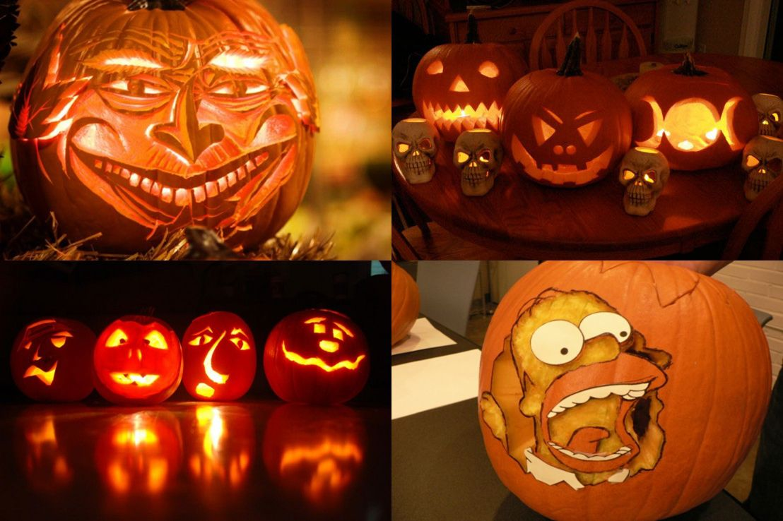 The gallery for painted pumpkin faces ideas for Deco cuisine halloween