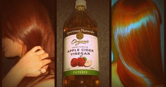 Washing your hair with apple cider vinegar